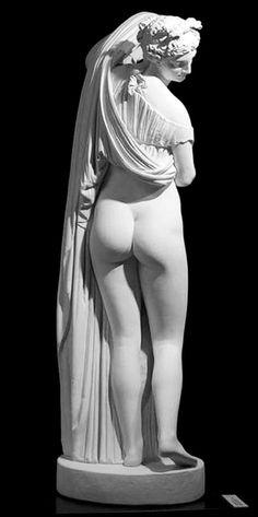 Aphrodite Kallipygos. Roman copy of Hellenistic sculpture, 150-100 BC, at Museo Archeologico Nazionale de Napoli since 1802.