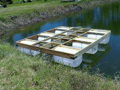My Backyard We Built Our Own Floating Dock Metal Building Trim Details Floating Pontoon, Floating Boat Docks, Floating House, Floating Shelves, Floating Picnic Table, Schwimmendes Boot, Building A Dock, Farm Pond, Lake Dock