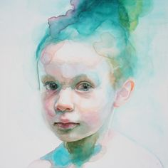 "Gorgeous watercolor paintings by American artist Ali Cavanaugh. ""Immerse is an abandonment of the artist's hyper-representational aesthetic and, rather, embraces the fluidity and ungoverned nature… Watercolor Portrait Tutorial, Watercolor Portraits, Portrait Paintings, Indian Paintings, Watercolor Art Face, Watercolor Paintings, Watercolours, Watercolor Trees, Watercolor Landscape"