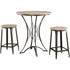 Coaster 3-Piece Counter Height Table Set with Stools in Black Weathered Bark