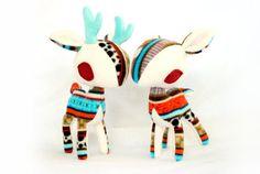Striped Woodland Tribe Deer Plush by pookatdinocrafts on Etsy, $30.00