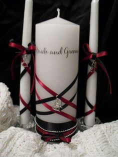 Black and red goth unity wedding candle and you could even use them for center pieces Camo Wedding, Gothic Wedding, Diy Wedding, Dream Wedding, Wedding Ideas, Wedding Shit, Black Red Wedding, Wedding Unity Candles, Diy Candles