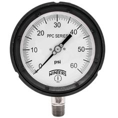 PPC Series 4.5 in. Black Phenolic Case Process Pressure Gauge with 1/2 in. NPT LM and Range of 0-60 psi