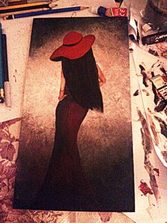 Lady in red #Painting