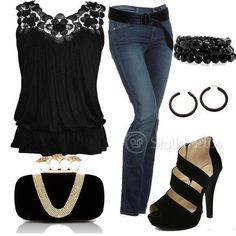 Black n Gold n Denim Perfect for a Saints game or party
