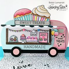 Buzzworthy Stamps, Dies and Paper Craft Supplies Small Cupcakes, Large Cupcake, Mini Cupcakes, Paper Craft Supplies, Paper Crafts, Pink Trailer, Cupcake Signs, Food Truck Design, Honey Bee Stamps