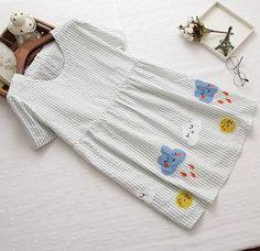 Clouds sun stitch striped o-neck short sleeve dress mrl girl 2016 summer