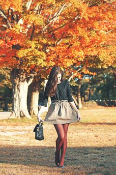 High waisted skirt + burgundy tights= fall perfection :)