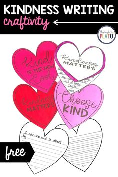 Whether you're looking for a writing craftivity for Valentine's Day or you need a project for Random Acts of Kindness Week, you're in the right spot. This kindness writing activity will look great on your bulletin board and will fill your classroom with thoughtful reminders about the importance of being kind. Grab this freebie and then snag 20 more Valentine centers your students will LOVE in our shop or on Teachers Pay Teachers! Kindergarten Writing Activities, Kindergarten Centers, Math Literacy, Help Teaching, Teaching Writing, Playdough To Plato, Valentines Day Activities, Sunday School Crafts, Winter Activities