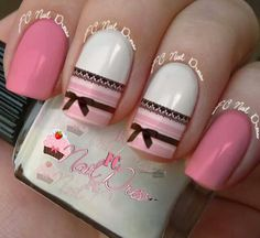 Feminine Pink Nail Art With Black Lace Detail and Bows