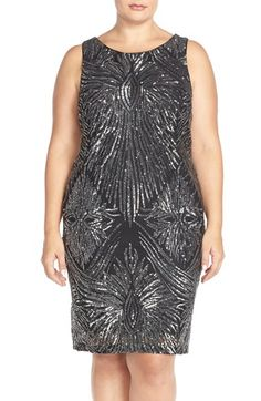 Marina Sequin Sheath Dress with Cutout (Plus Size)