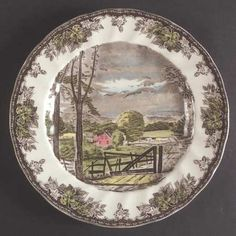 """Johnson Brothers, The Friendly Village (""""England Backstamp) - Page 1 Johnson Brothers China, Johnson Bros, Friendly Village Dishes, Fine China Dinnerware, Christmas Villages, Vintage China, Decorative Plates, China Patterns, Wisteria"""