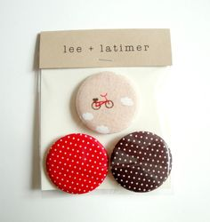 Red and Brown Floating Bike Fabric Button Pin Badge Set. $6.00, via Etsy.