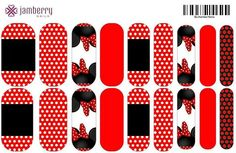 Minnie mouse Disney inspired nail wraps...  Order at Luvldybug.jamberrynails.net