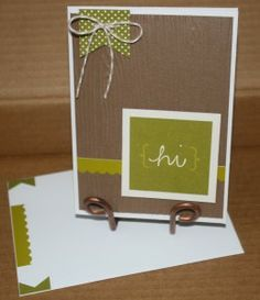 This card was simple and fun - I used my Stampin Up woodgrain embossing folder on a sheet of brown cardstock and added a sticker border and ...