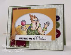 ART IMPRESSIONS Rubber Stamps: Ai People: Celeste Set (Sku#4326) handmade birthday card. wine, couch, girlfriends, twine