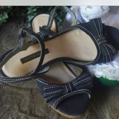 Cute Jean sandals! Blue jean like material wedges! Gently used. Goes great with jeans and dresses. Tommy Hilfiger Shoes Wedges