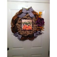 ElsiesCreativeDesign ($75) ❤ liked on Polyvore featuring home, home decor, bow wreath, autumn home decor, thanksgiving wreaths, autumn wreath and chevron home decor