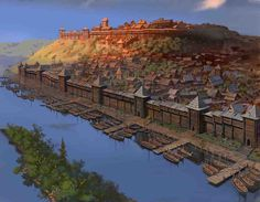 Main city of Rhinelund Fantasy City, Fantasy Castle, Fantasy Places, Fantasy Map, Medieval Fantasy, Fantasy World, Fantasy Concept Art, Fantasy Artwork, Art Et Illustration