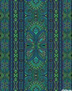 eQuilter Bordering on Brilliance II - Grand Paisley Stripe - Turquoise