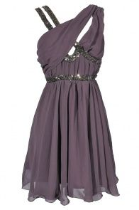 Asymmetrical Chiffon and Sequin Party Dress in Purple