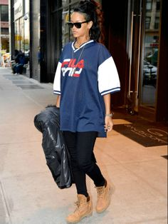 """Rihanna hits the streets of NYC in style with these Timberland 6"""" Premium boots."""