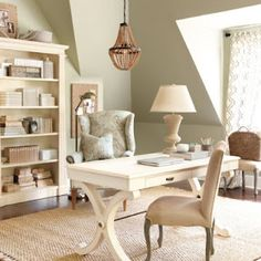 home office.... I like th muted colors and off white furniture