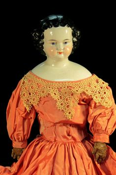 29'' X Large Dressel & Kister China Head Doll Antique Doll c1890 from antiquesdolls on Ruby Lane