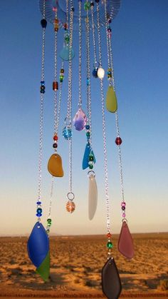 Sea Glass Wind chime /Mobile with Pink Crystal by mexicobeachgirl, $49.00