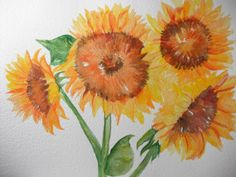 Original  Sunflowers Watercolor Painting  by SharonFosterArt, $50.00