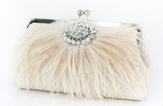 Ivory Bridal Clutch with Rhinestone and Ostrich Feathers by ANGEEW Wedding Clutch, Bridal Clutch, Wedding Shoes, Wedding Bags, Wedding Ideas, Wedding Dresses, Sacs Design, Ostrich Feathers, Bridal Gifts