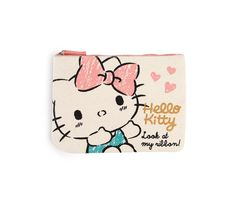 Hello Kitty Flat Canvas Pouch: Pink Sketch