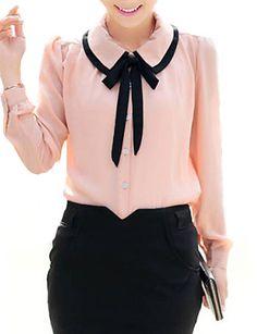 bonito contraste das mulheres arco colarinho da camisa meia manga de 711345 2016 por R$30,39