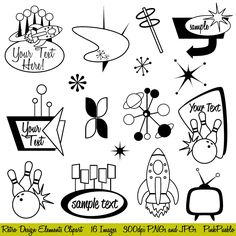 Retro Clipart Clip Art, Mod or Vintage Clipart Clip Art - Commercial and Personal Use. $6.00, via Etsy.