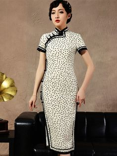 Dots Tea-length Cheongsam / Qipao Dress