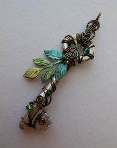 Forest Key Pendant -- Wire Wrapped Key with Green and Yellow Leaves, Antique Brass Wire, Olive and Forest Green Swarovski crystals