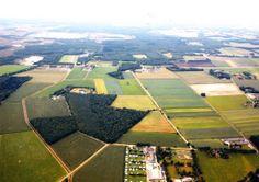 """Een luchtfoto van Someren, genomen vanuit Someren richting Lierop. Met midden onder camping """"de Kuilen"""" aan de kuilvenweg. Linksboven het Beuven, daaronder het Witven en rechts erboven het Starven. De weg van rechts boven het midden lopend naar links is de provinciale weg. Links langs camping de Kuilen loopt de Maarheezerdijk .De dubbele lijn links op de foto is de Peelrijt of Rielloop."""