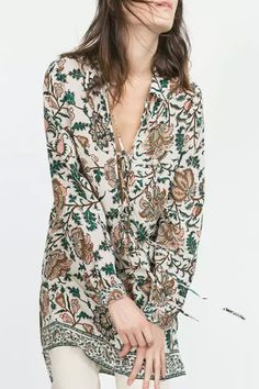 Floral Print Turn-Down Collar Long Sleeves Lace-Up Dress