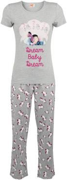 Minions - Dream Baby Dream    - pajama set  - a shirt with front print  - long pants with all over print    The cute Minions 'Dream Baby Dream' pajamas are delivered as a set of long pants with all over unicorn print and a T-shirt. In these heather gray pajamas with pink and white accents, sweet dreams are inevitable!