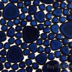 M451 Cobalt Blue Pebble Mosaic $9.38 SF Supah Fish Tiles Pebblestone Cobalt Blue This is not glass though.
