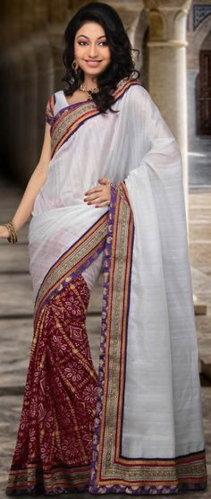 Half N Half Art Silk Saree en blanc et rouge