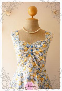 Garden of Goddess Blue Yellow Tulip Tea Party Dress by Amordress, $57.50