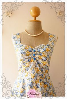 Garden of Goddess Blue Yellow Tulip Tea Party Dress by Amordress, $57.50