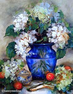 New Love White Hydrangeas, 20X16, oil, my class demonstration in Alton, Illinois - Flower Paintings by Nancy Medina www.nancymedina.com