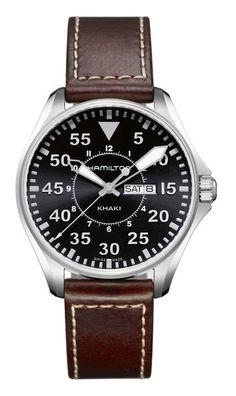 Reloj Hamilton Khaki Aviation Khaki Pilot Quartz, Calibre 2836-2. Reloj Cuarzo, tres agujas con calendario/semanario, con indicador final de pila. Caja de acero, con cristal zafiro. Esfera negra, piel marrón.