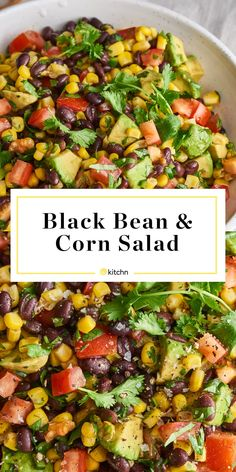 Black Bean Salad with Corn and Avocado - Dips Mexican Food Recipes, Vegetarian Recipes, Cooking Recipes, Healthy Recipes, Bean Salad Recipes, Detox Recipes, Vegan Black Bean Recipes, Summer Salad Recipes, Game Recipes