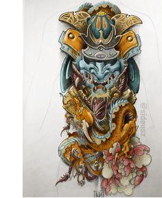 Color scheme for client. Full back and butt action. Hannya Tattoo, Irezumi Tattoos, Skull Tattoos, Body Art Tattoos, Tattoo Arm, Hand Tattoos, Japanese Mask Tattoo, Japanese Tattoo Designs, Japanese Sleeve Tattoos