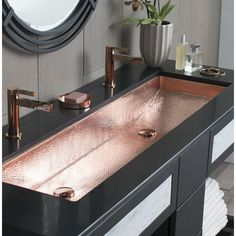 Copper Sink for ultimo luxury lifestyle Native Trails Trough Single Basin Undermount Copper Bathroom Sink Polished Copper Fixture Lavatory Sink Copper Drop In Bathroom Sinks, Dream Bathrooms, Bathroom Faucets, Trough Sink Bathroom, Stone Bathroom, Luxury Bathrooms, Beautiful Bathrooms, Aqua Bathroom, Modern Bathroom Sink