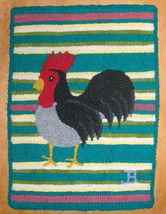 Primitive or Western Hand Hooked Black Rooster Mat Rug