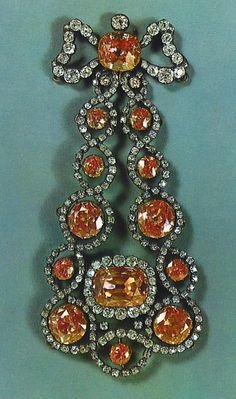 Russian Crown Jewels. Are these fancy orange diamonds or another precious stone?